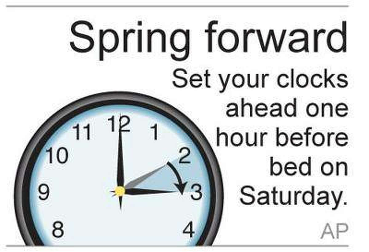 Daily Saving Time starts this weekend; remember to turn clocks ahead one hour.