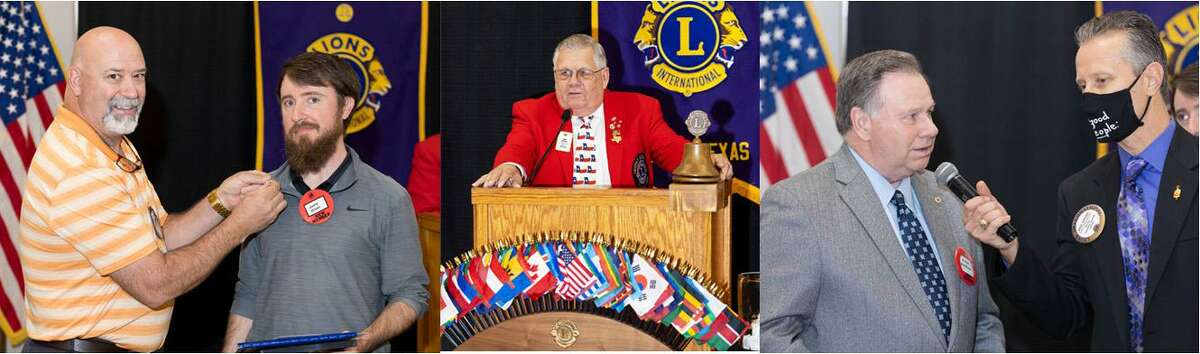 The Conroe Noon Lions Club held an induction last week for new club members where they were properly pinned, sworn-in, and interviewed before the club membership. Pictured from left to right are Carl Rushing, Jonny Green, Tony Austin, Frank Robinson, Mike Sproba.