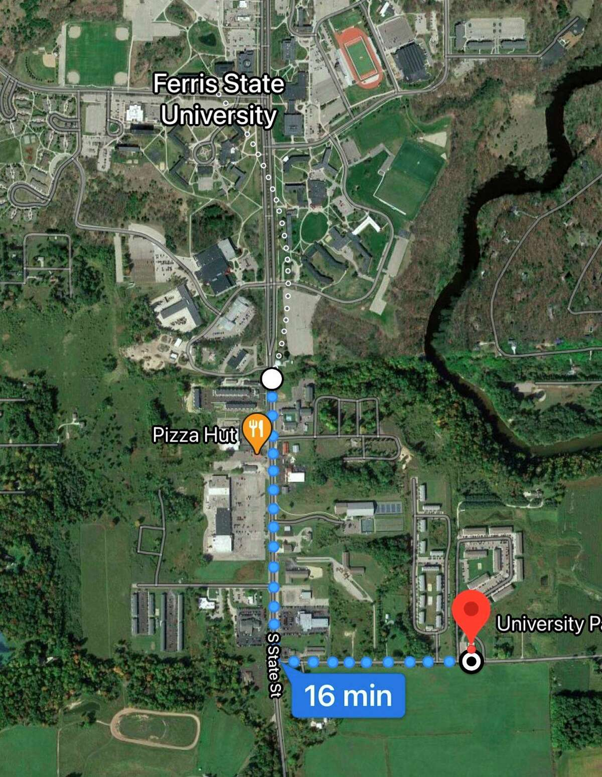FSU officials have expressed concern regarding students walking from apartments on 14 Mile Road and Gilbert Road having to walk along State Street with no sidewalks. Big Rapids Township officials have agreed to look into the feasibility of adding sidewalks. (Photo courtesy of Google Maps)