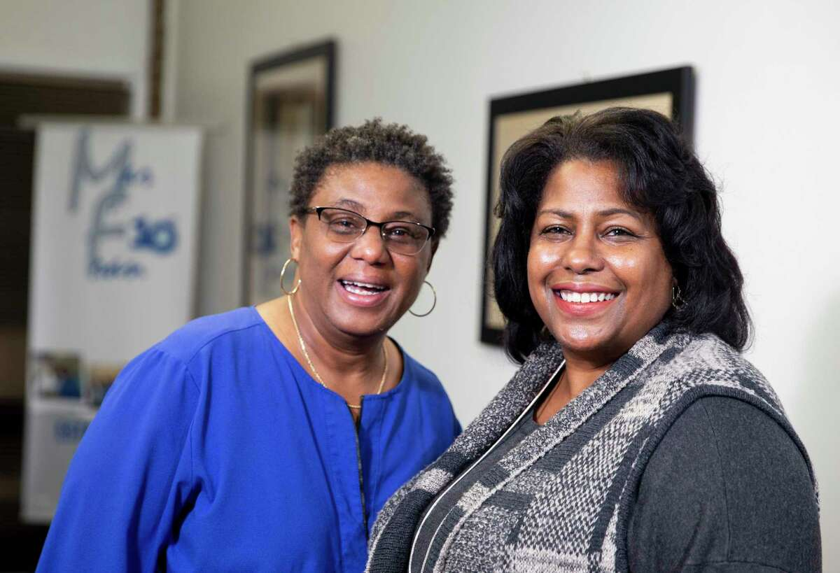 Naomi W. Scale, left, and Marilyn J. Jordan, LGBT business owners of ManFran Cleaning, pose for a photograph at their office Thursday, March 4, 2021, in Houston. City of Houston would add a LGBT certification to its contracting process, which puts them in the vendor directory and could ultimately lead to the city setting goals for how many contracts go to LGBT businesses.