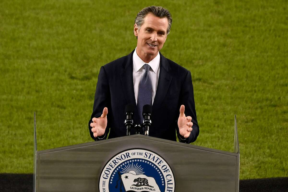 California Gov. Gavin Newsom delivers the State of the State address at an empty Dodger Stadium in Los Angeles on Tuesday.