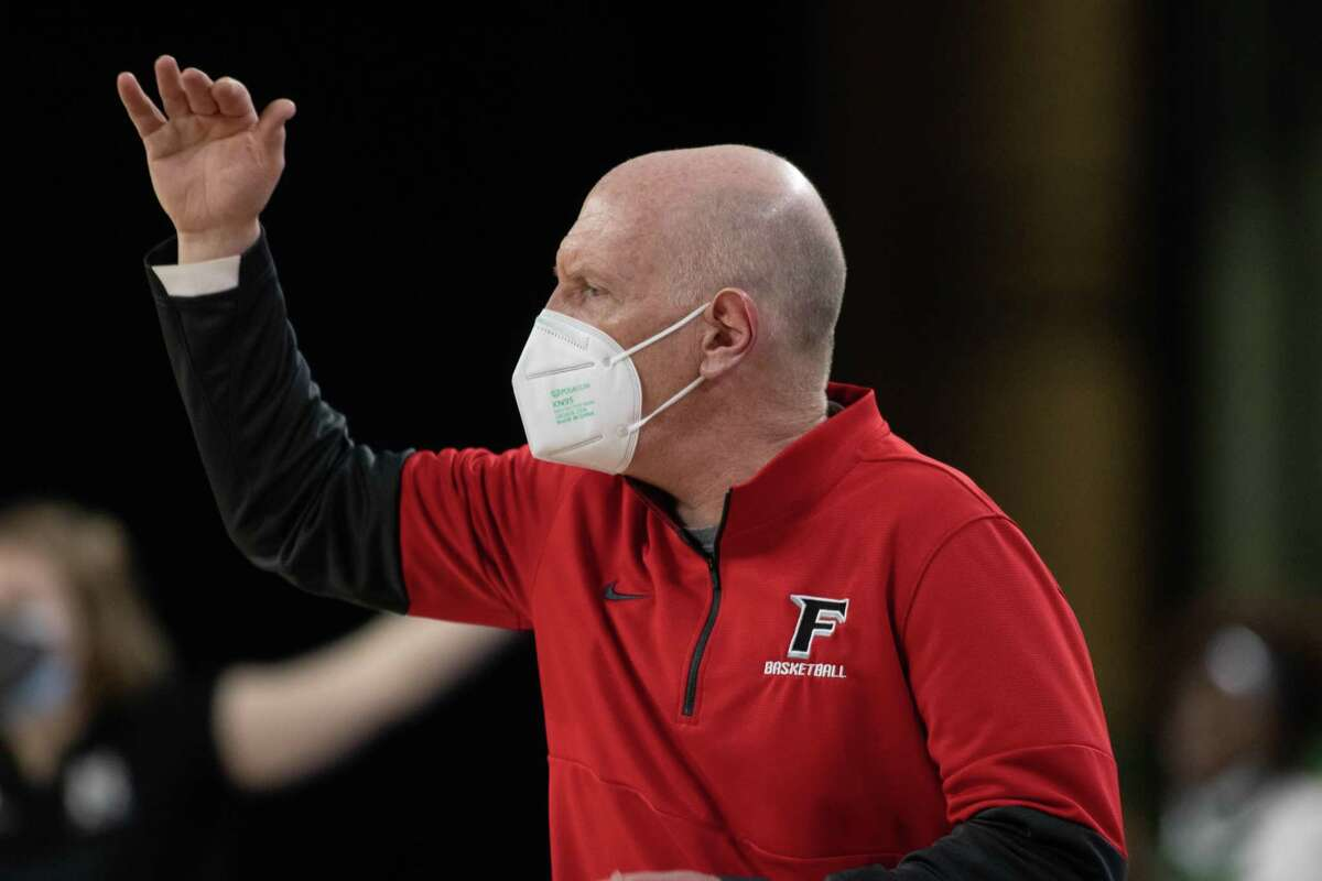 Fairfield coach Joe Frager calls to his players on the sideline of Jim Whelan Boardwalk Hall in Atlantic City, N.J. The No. 4-seeded Stags fell to No. 1 seed Marist in the MAAC Tournament semifinals Friday.