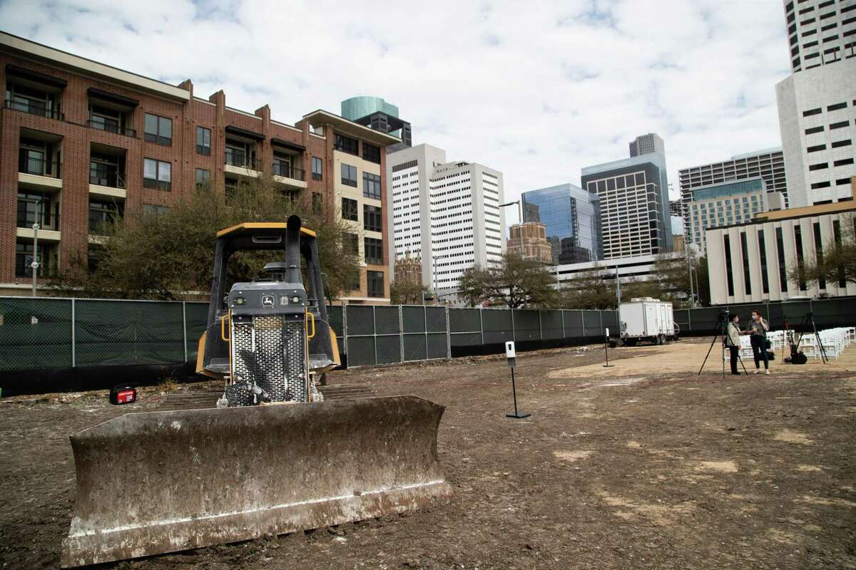 The area where Trebly Park will be located in south downtown Houston is pictured Friday, March 12, 2021. Officials broke ground on the park and unveiled its name and logo at a ceremony.
