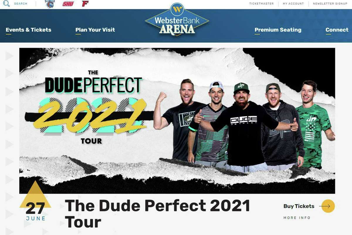 Screenshot of Webster Bank Arena's website, featuring an advertisement for a June show.