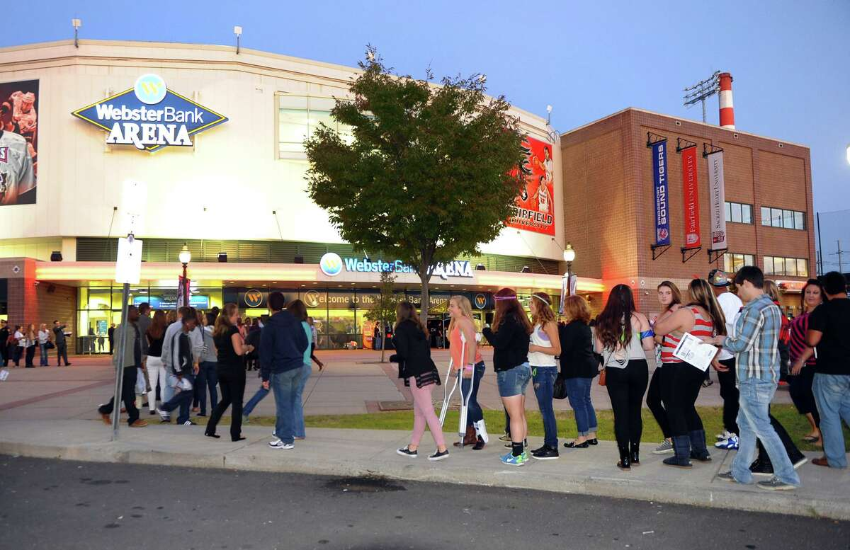 Fans outside waiting to see Tegan and Sara and Fun perform at the Webster Bank Arena in Bridgeport, Conn. on Saturday September 28, 2013. Fun, who won the Grammy Awards for Best New Artist and Song of the Year, were the headlining act.