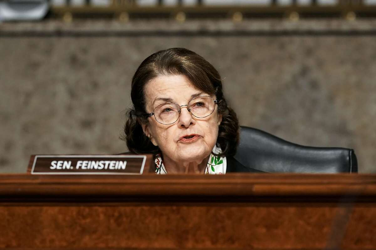 WASHINGTON, DC - MARCH 03: Sen. Dianne Feinstein (D-CA) asks questions during a Senate Homeland Security and Governmental Affairs & Senate Rules and Administration joint hearing to discuss the January 6th attack on the U.S. Capitol on March 3, 2021 in Washington, DC. The committee is scheduled to hear testimony about DHS, FBI, National Guard and Department of Defense support and response to the attack on the U.S. Capitol on January 6. (Photo by Greg Nash-Pool/Getty Images)
