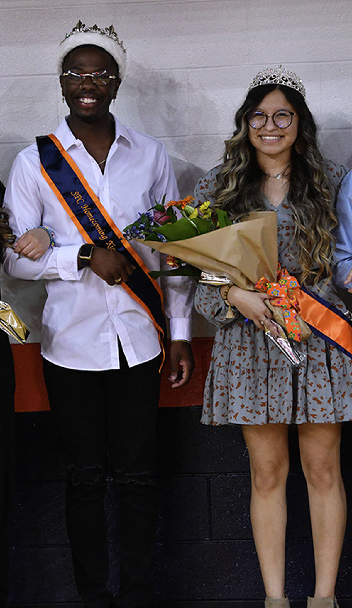 HOMECOMING HONORS - Students at South Plains College selected Demarcus Sneed of Lakeland, Fla., and Kamryn Alvarez of Earth as Homecoming King and Queen during halftime of the Texans/Western Texas College basketball game on Thursday (March 11) in the Texan Dome. Sneed, a business major, represented the Sixth Man. Alvarez, a video and cinema major, represented Catholic Family Ministry. The contest was open to all student organizations, clubs and residence halls. (SPC Photo/Wes Underwood)