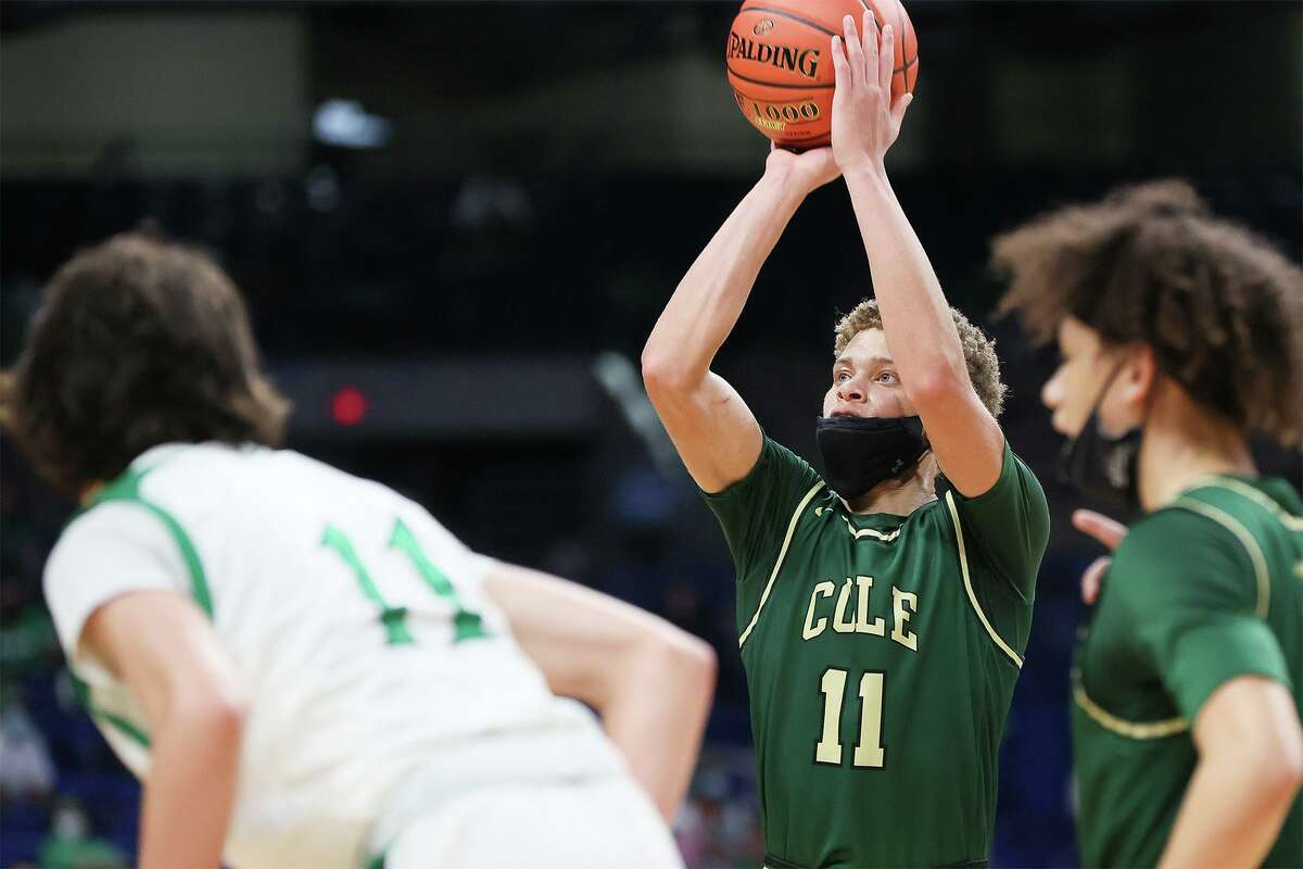 Cole's Trey Blackmore shoots a free throw during the second half of their Class 3A boys basketball state championship game with Tatum at the Alamodome on Friday, March 12, 2021. Blackmore scored 34 points and was named MVP of the tournament to help Cole beat Tatum 77-60.