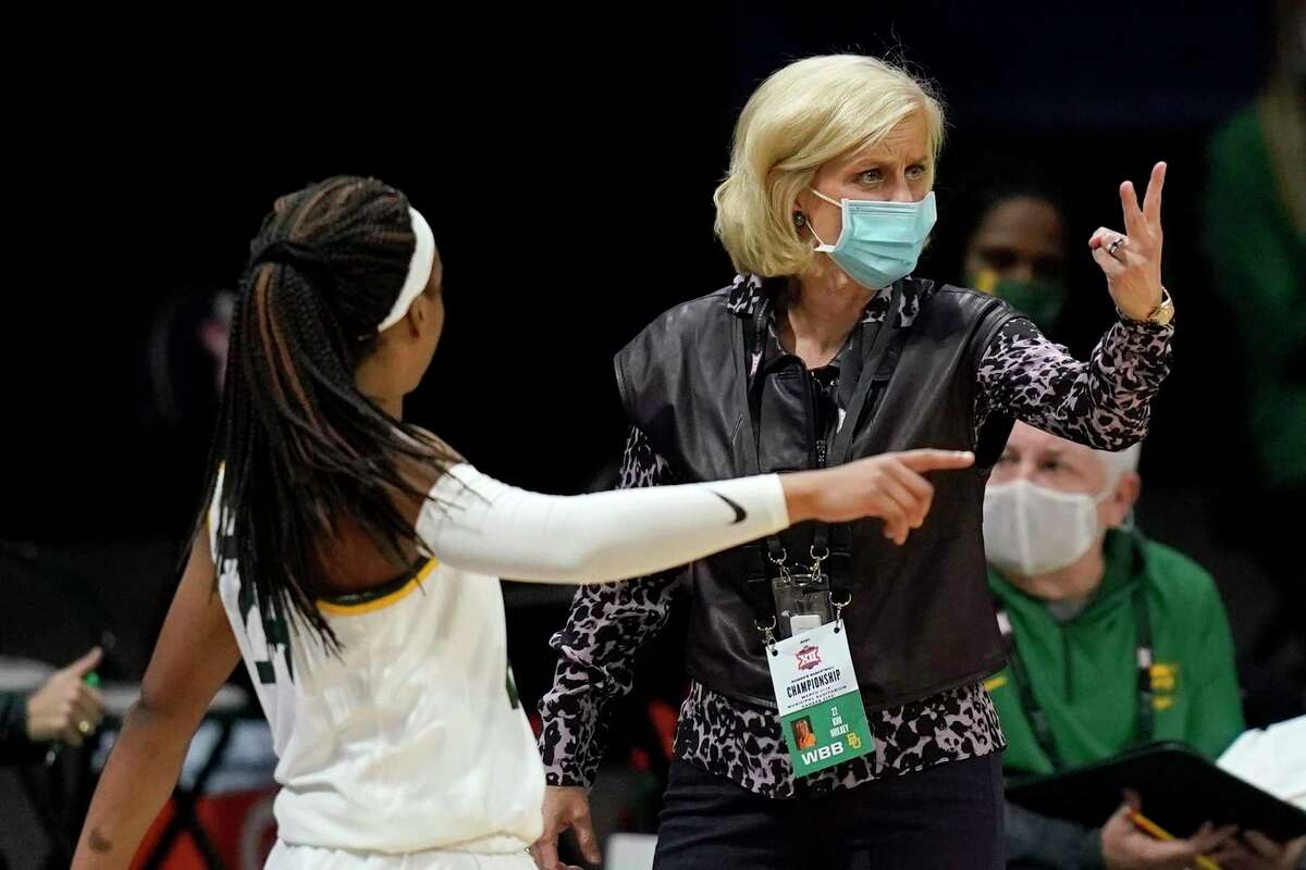 Baylor head coach Kim Mulkey, calling a play in Friday's win over TCU in the Big 12 tournament, will face Texas for a third time this season on Saturday.