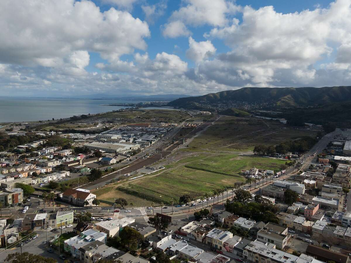 The green patch of Schlage Lock land at Bayshore and Leland, south of San Francisco's Bayview neighborhood in South San Francisco.