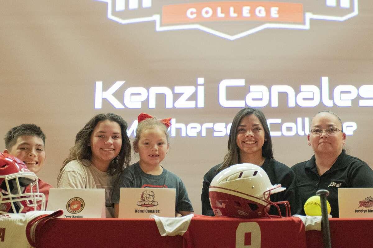 Coahoma softball playerKenzi Canales pictured with her family after signingto play at NAIA McPherson College in Kansas. CoahomaISD photo