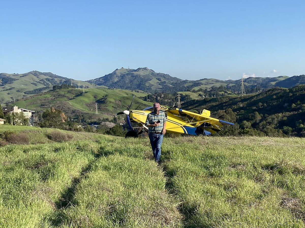 Neighbors gawked at a plane that landed on the Rim Trail in Moraga on Friday afternoon after the engine failed. The pilot was uninjured and plane undamaged.