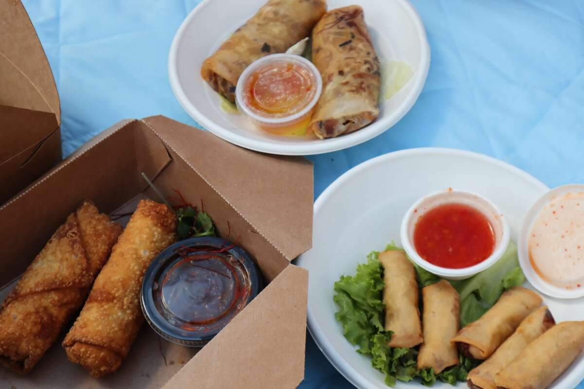 Clockwise from the top, Thai spring rolls from Hello Paradise, Sokhom spring rolls from Golden Wat and crab boudin egg rolls from Hello Paradise.
