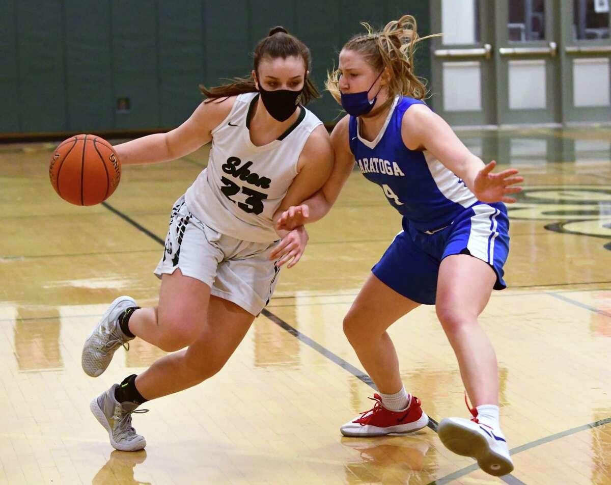 Shenendehowa's Meghan Huerter, left, is the Times Union Large-School Girls' Basketball Athlete of the Year.(Lori Van Buren/Times Union)