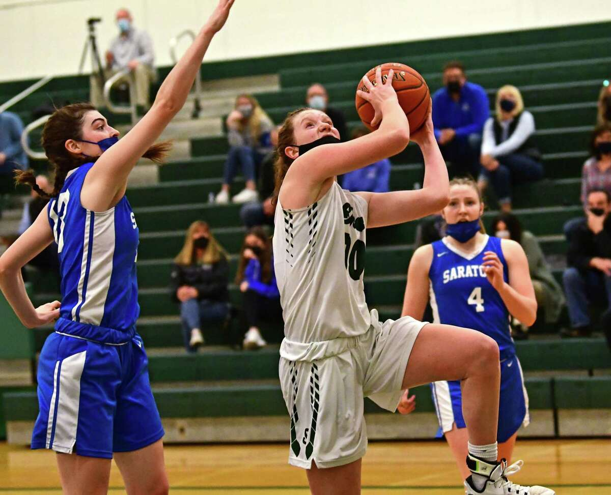 Shenendehowa's Jillian Huerter drives to the basket during a basketball game against Saratoga on Friday, March 12, 2021 in Clifton Park, N.Y. (Lori Van Buren/Times Union)