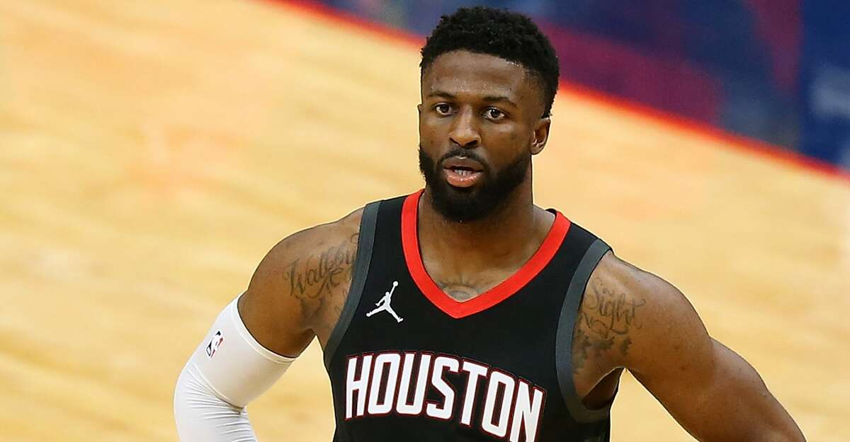 David Nwaba #2 of the Houston Rockets reacts against the New Orleans Pelicans during a game at the Smoothie King Center on January 30, 2021 in New Orleans, Louisiana.(Photo by Jonathan Bachman/Getty Images)
