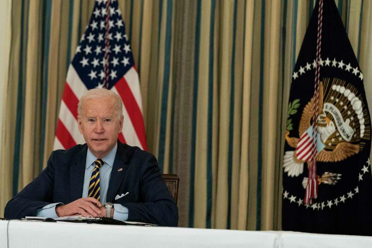 El presidente Joe Biden habla durante una reunión virtual con el primer ministro indio Narendra Modi, el primer ministro australiano Scott Morrison y el primer ministro japonés Yoshihide Suga, desde la Casa Blanca, viernes 12 de marzo de 2021.