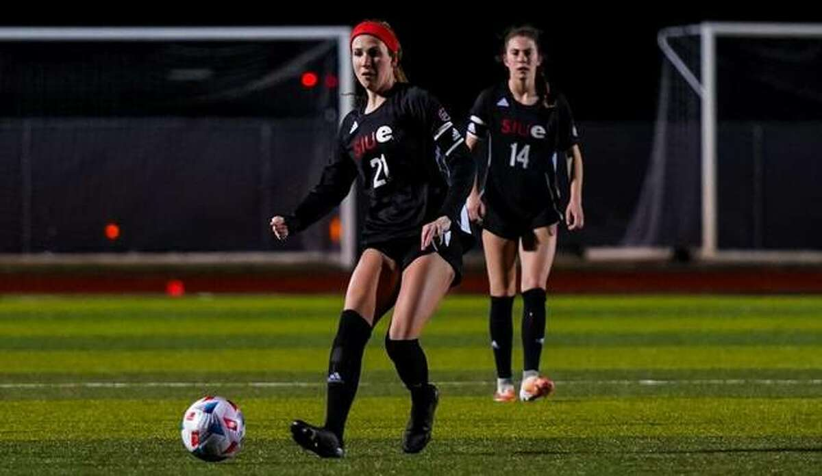 SIUE midfielder Angel Ikeda plays a pass up the field during Friday's game against UT Martin in Edwardsville.
