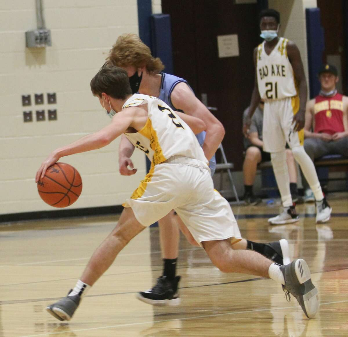 The Bad Axe boys basketball team ran past visiting Sanford Meridian on Friday for a 56-30 win.