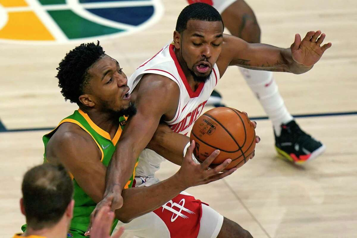 Sterling Brown, defending against Donovan Mitchell, was one of a handful of Rockets who put up a fight in Utah.