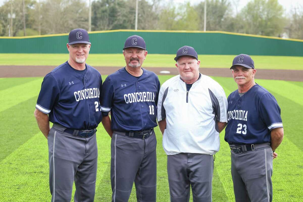 Concordia Lutheran to honor memory of late coach Rick Lynch, second to right, during the baseball team's first home district game on Thursday, March 25. Lynch is joined by Royce Kennedy, left, David Sinton, second to left, and Gary Hammond, far right.
