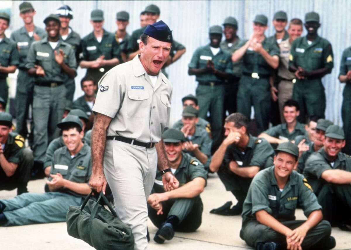 """#49. Good Morning, Vietnam (1987) - Director: Barry Levinson - Stacker score: 77.3 - Metascore: 67 - IMDb user rating: 7.3 - Runtime: 121 minutes In """"Good Morning, Vietnam,"""" comedic genius Robin Williams stars as irreverent DJ Adrian Cronauer, host of the country's Armed Forces Radio Service station during the war. Laugh-out-loud funny, and occasionally soberingly realistic, Roger Ebert said that the role was """"far and away the best work Williams has ever done in a movie."""" It also remains one of the few examples of war-comedy on this list."""