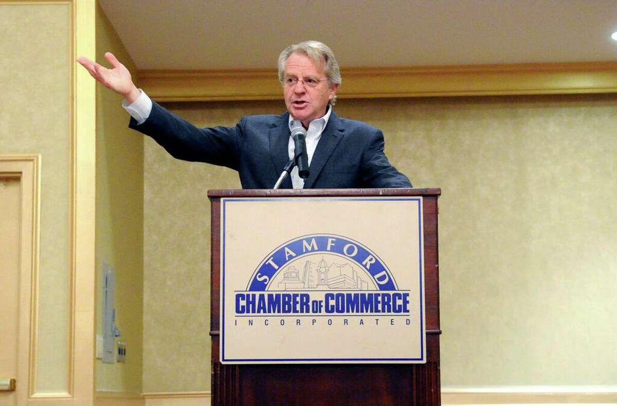 Jerry Springer speaks to the Stamford Chamber of Commerce in 2010.
