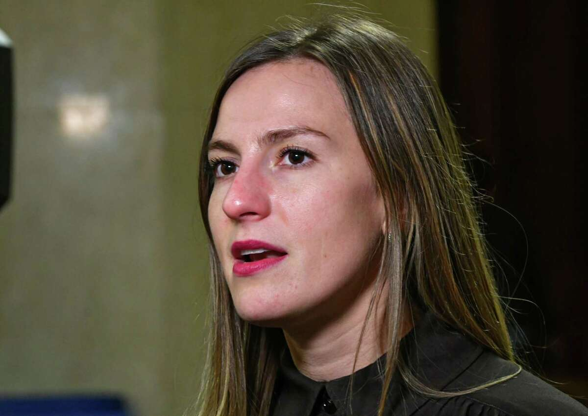 Senator Alessandra Biaggi holds a press conference to discuss Wednesdays sexual harassment in the workplace hearings at the New York State Capitol on Tuesday, Feb. 12, 2019 in Albany, N.Y. (Lori Van Buren/Times Union)