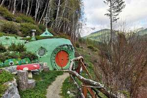 Cozy up in a Hobbit Hole cave-cabin in California's Siskiyou Mountains.