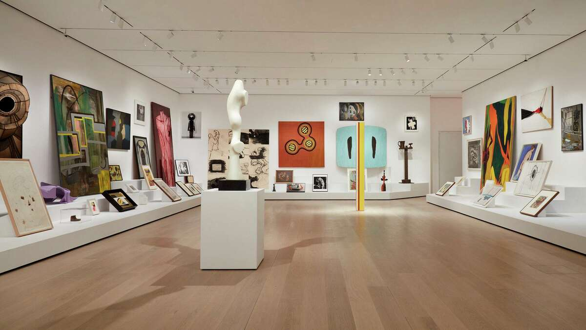 """This undated image released by the The Museum of Modern Art shows the installation """"Artist's Choice: Amy Sillman-The Shape of Shape,"""" part of the renovation and expansion effort at MoMA in New York. As the Museum of Modern Art in Manhattan prepares to reopen following a $450 million, 47,000 square foot expansion, visitors can prepare for much more than much-needed elbow room there - and new juxtapositions of works meant to encourage broader perspectives and new narratives."""