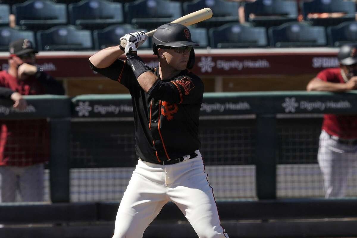 The Giants' Buster Posey, hitting against the Diamondbacks on Monday, could be in the lineup when the teams meet against at 1 p.m. Sunday. The game will air on KNBR.