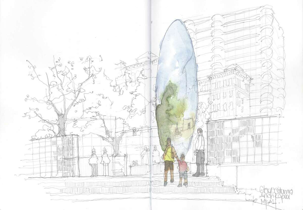 Drawings by Reagan Miller of the Cloud Column by Anish Kapoor at the Museum Fine Arts Houston and flowers.