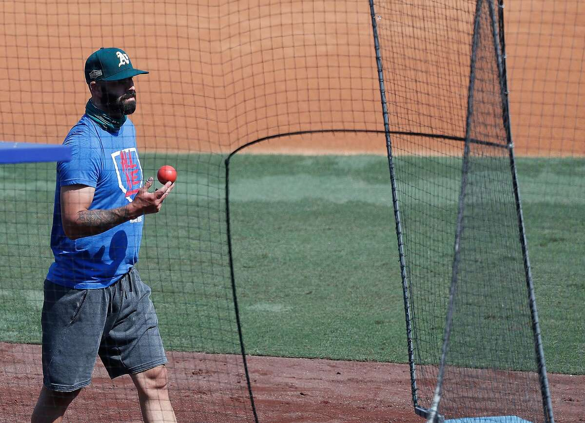 Oakland Athletics pitcher Mike Fiers walks out of the bullpen after a throwing session during A's workouts ahead of Monday's Game 1 of the ALDS at Dodger Stadium, Sunday, October 4, 2020, in Los Angeles.