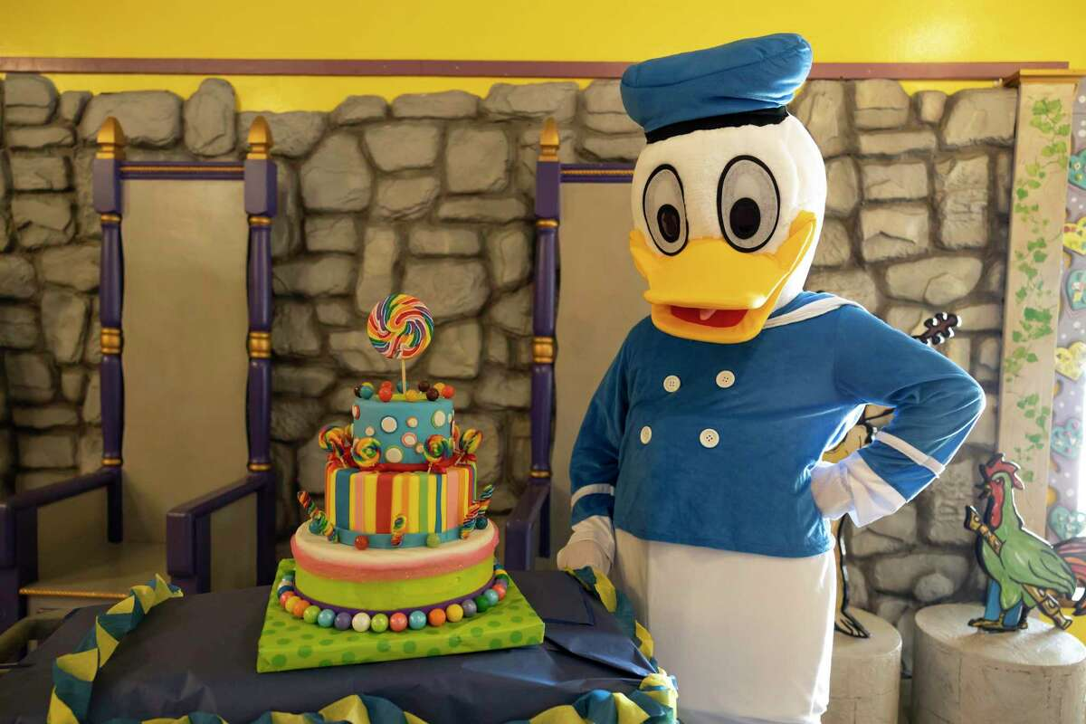 Donald Duck poses for a portrait with a cake during Donald Duck's birthday at The Woodlands Children's Museum, Saturda in The Woodlands.