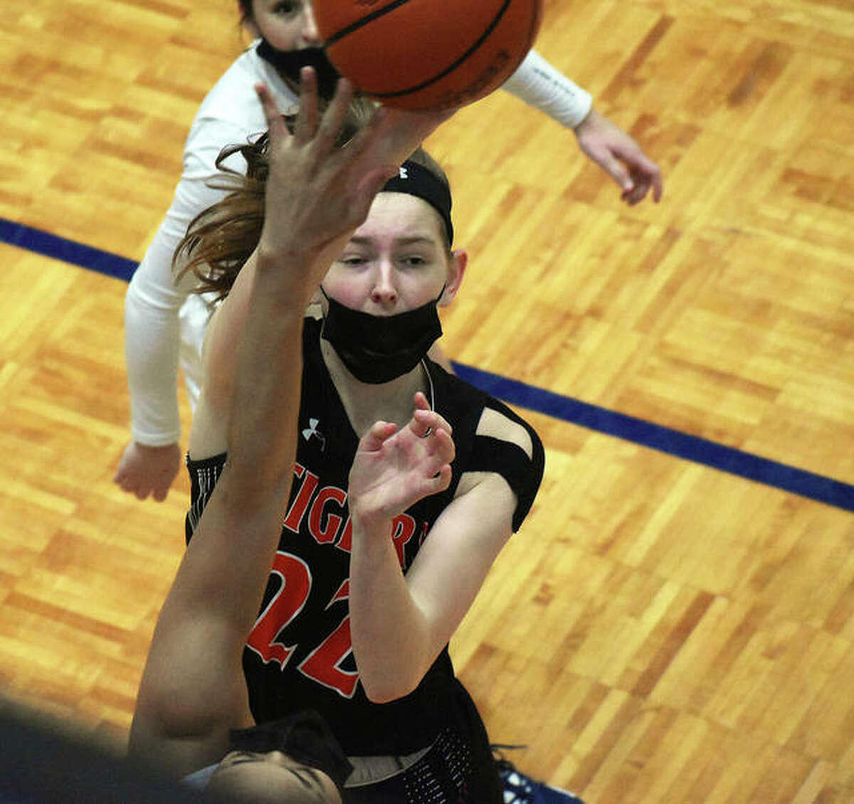 Edwardsville's Katelynne Roberts puts up a hook shot in the first half against O'Fallon.