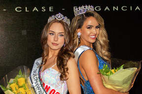 Newly crowned Miss Southwest Texas Teen Megan Ochoa and Miss Southwest Texas Celissa Pena pose, Saturday, Mar. 13, 2021, at Valdivian Events during the Miss Southwest Texas Pageant.