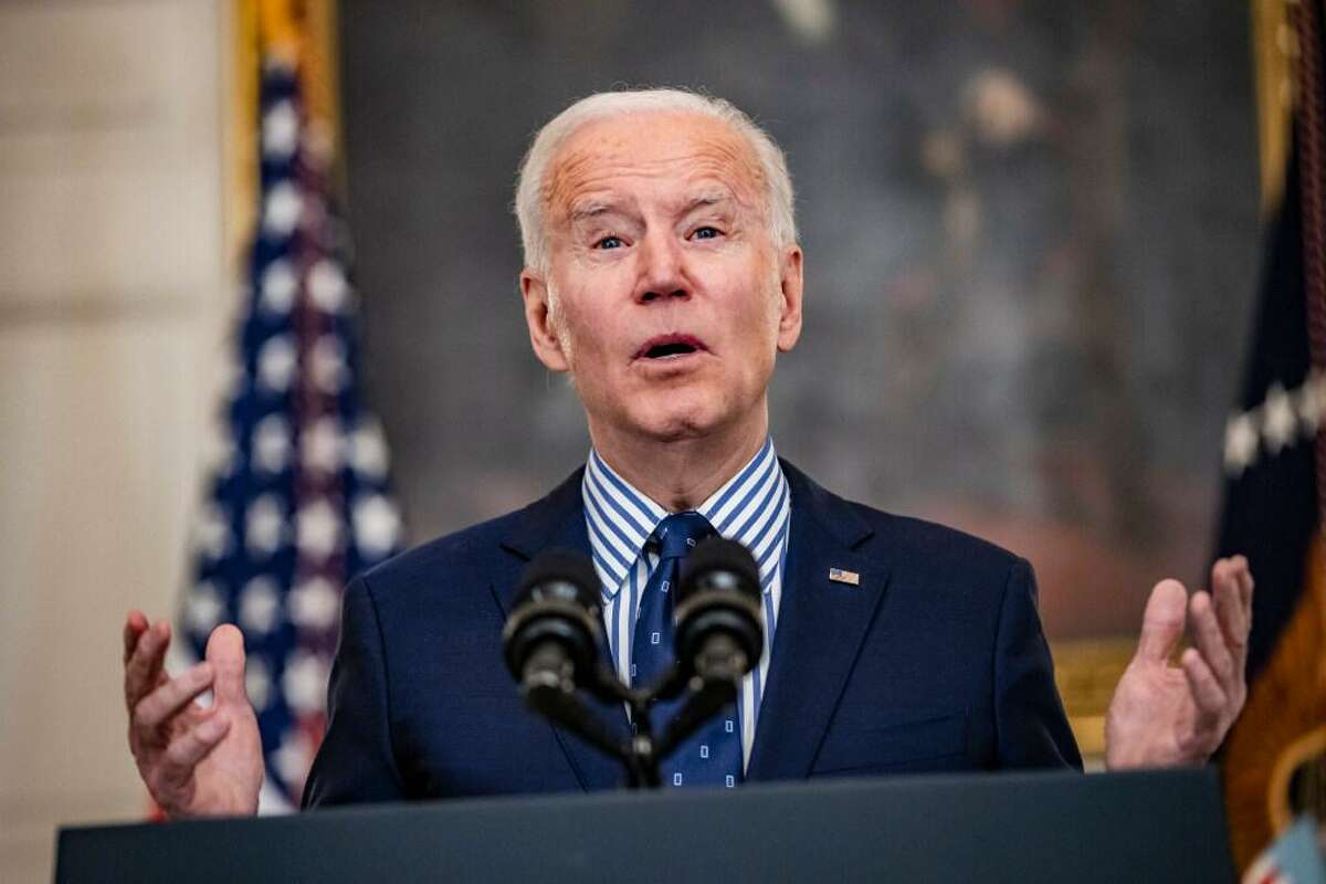 President Biden speaks from the State Dining Room after the passage of the stimulus package.