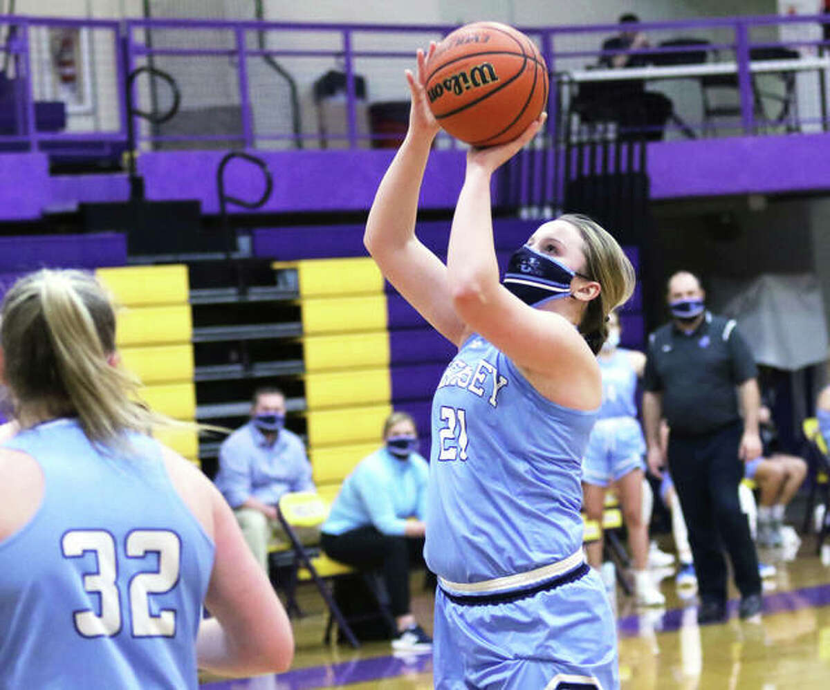 Jersey senior Boston Talley, shown shooting in a MVC game at Bethalto earlier in the season, scored 11 points in her final game as a Panther in a win over Carrollton on Saturday afternoon at Havens Gym in Jerseyville.