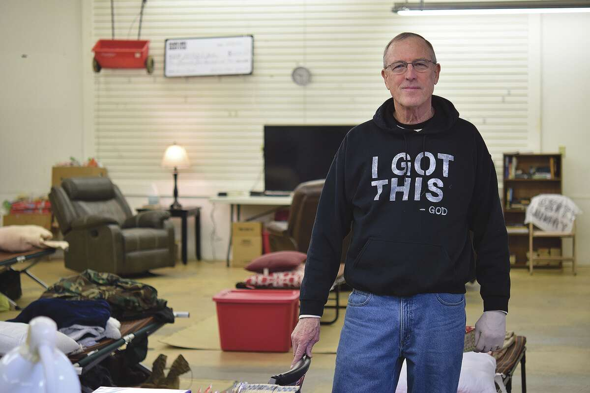 Alan Bradish in the men's area of the Temporary Emergency Overnight Shelter Accommodation in Jacksonville.