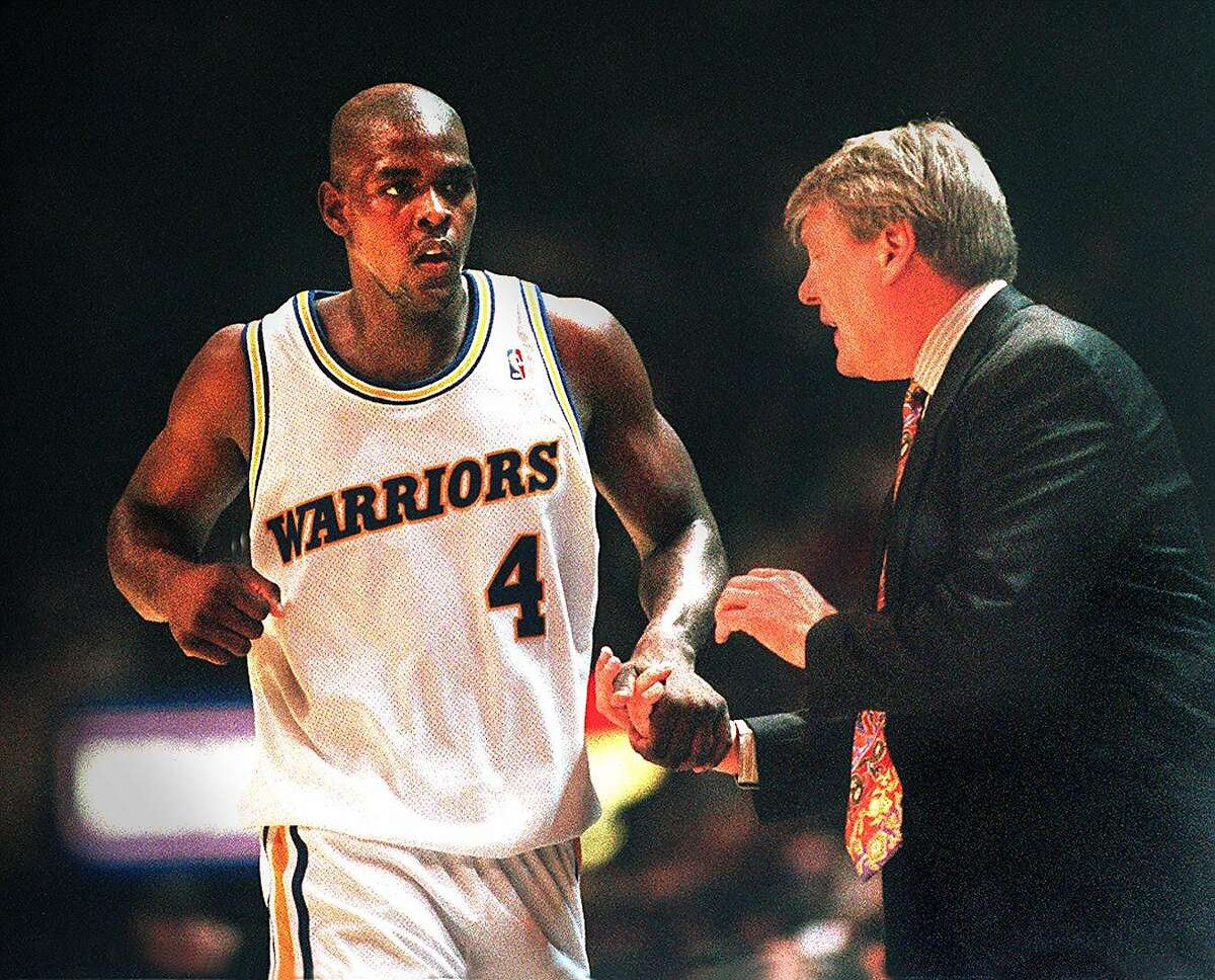CHRONICLE 01/28/94 // CHRIS WEBBER AND DON NELSON Chris Webber (4), a rookie, along with Latrell Sprewell and Chris Mullin, embodied the Warriors first-class talent 13 years ago. (Fred Larson/The Chronicle)