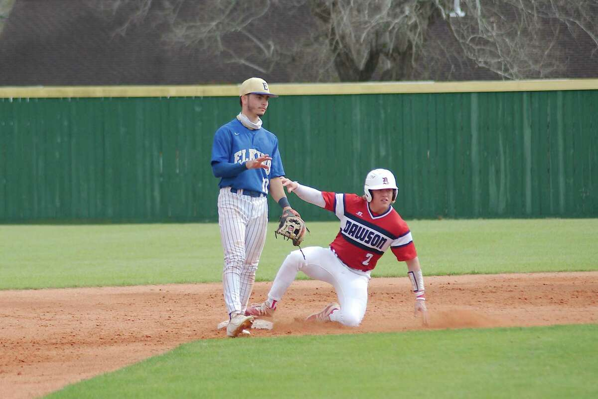 Fort Bend Elkins' Joseph Binder (12) looks for the throw as Dawson's Ross Mingarelli (2) slides safely into second base Thursday at Alvin High School. The Eagles won the game, 6-1.