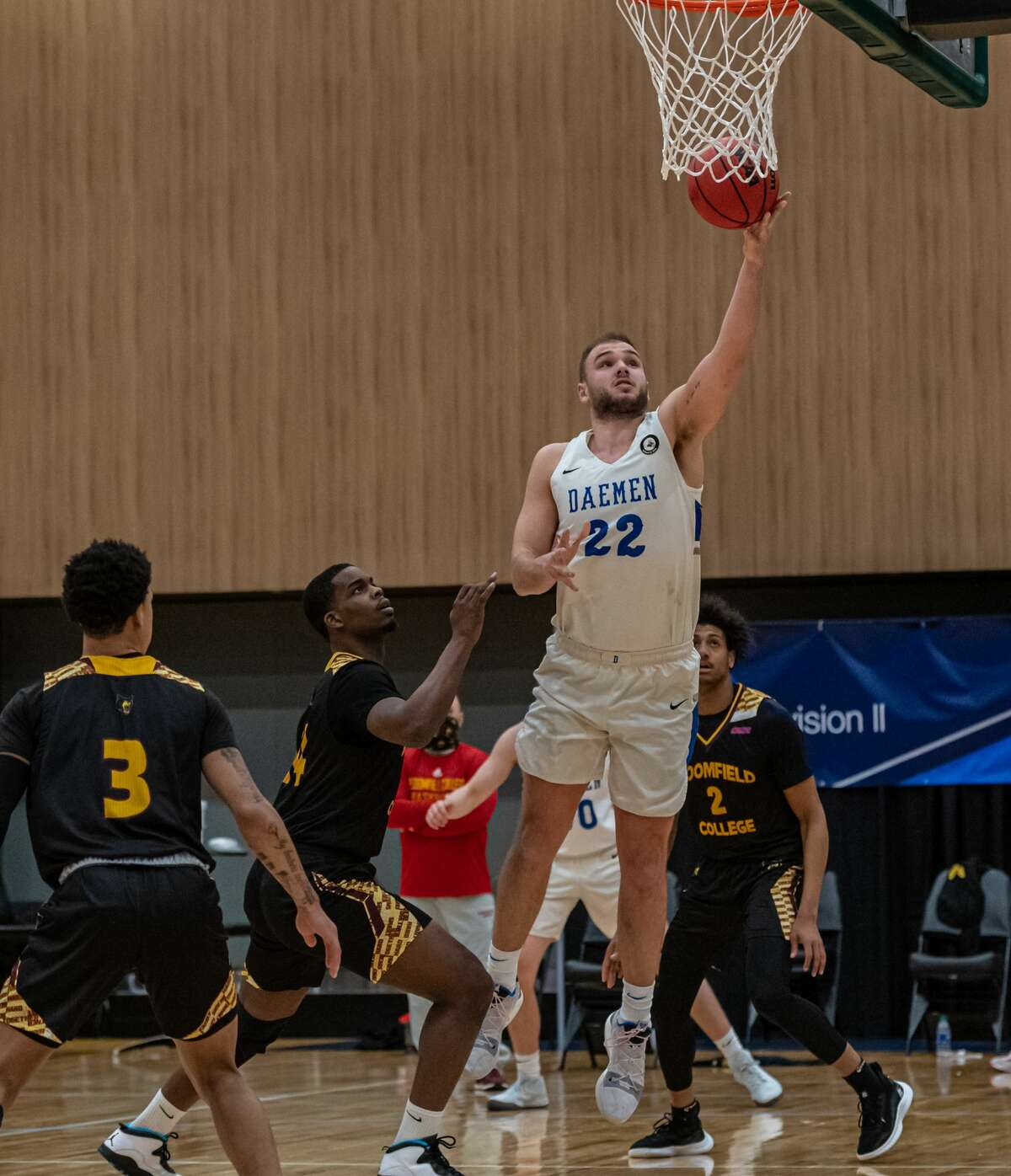 Daemen senior center Andrew Sischo, a Guilderland native, scores on a layup in the first half of an NCAA Division II regional basketball game against Bloomfield on Sunday, March 14, 2021, at the Albany Capital Center. (Robert Simmons/ACC)