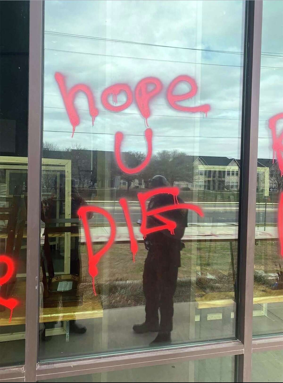 Noodle Tree, an Asian-owned restaurant on UTSA Boulevard in San Antonio, was spray painted with racial epithets on Sunday after the owner spoke out on CNN against Gov. Greg Abbott's rollback of the statewide mask mandate.