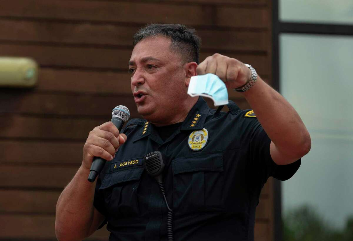 """Empassioned Houston Police Chief Art Acevedo gives a speech about the city and protests for George Floyd at the """"Pull Up & Praise"""" drive-thru fellowship service Sunday, May 31, 2020, at The Christian Outreach Center in Houston. Floyd died in custody of the Minneapolis Police Department earlier this week."""