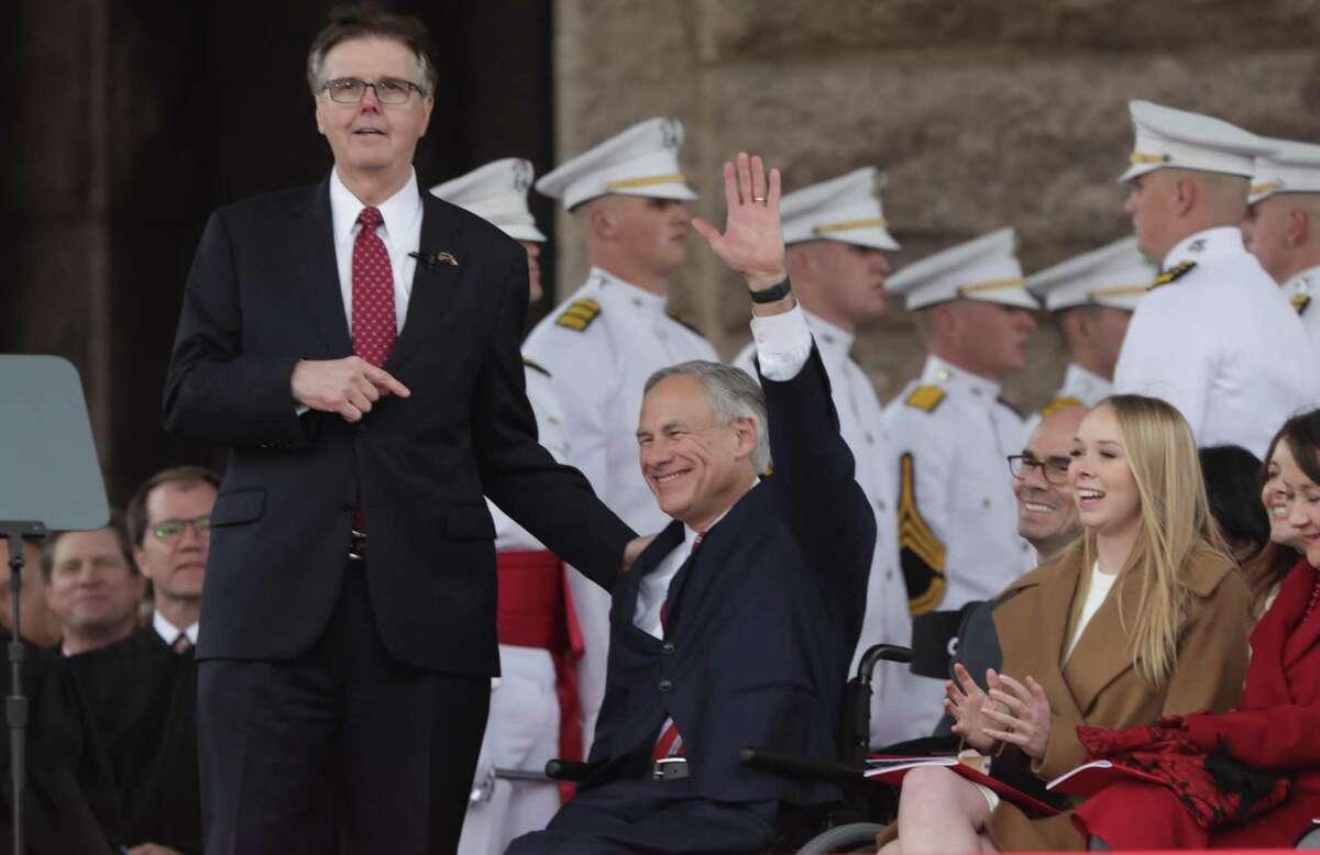 Lt. Gov. Dan Patrick, points out Gov. Greg Abbott during his inauguration speech in Austin, on Tuesday, Jan. 15, 2019.