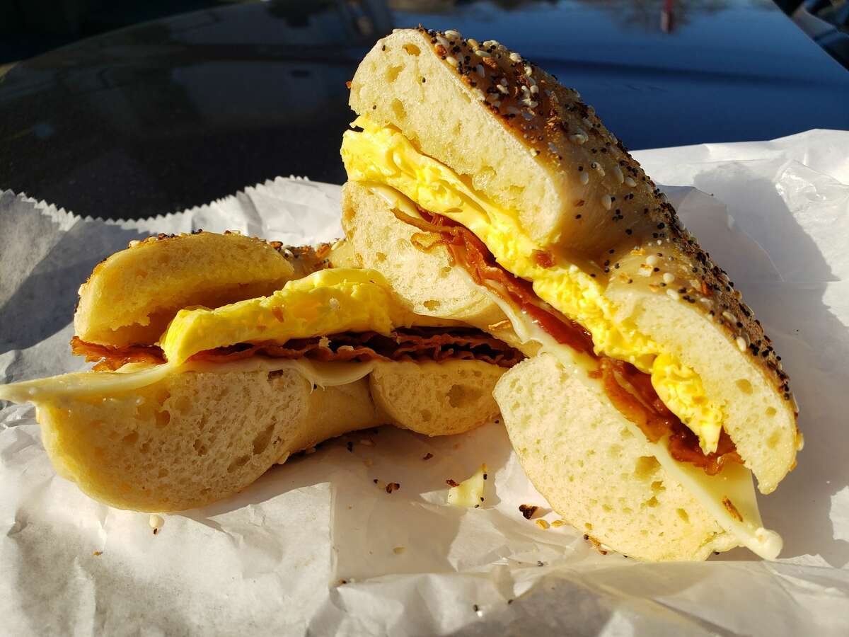 Bacon, egg and cheese on an everything bagel from Bagels and Bakes in Rotterdam.