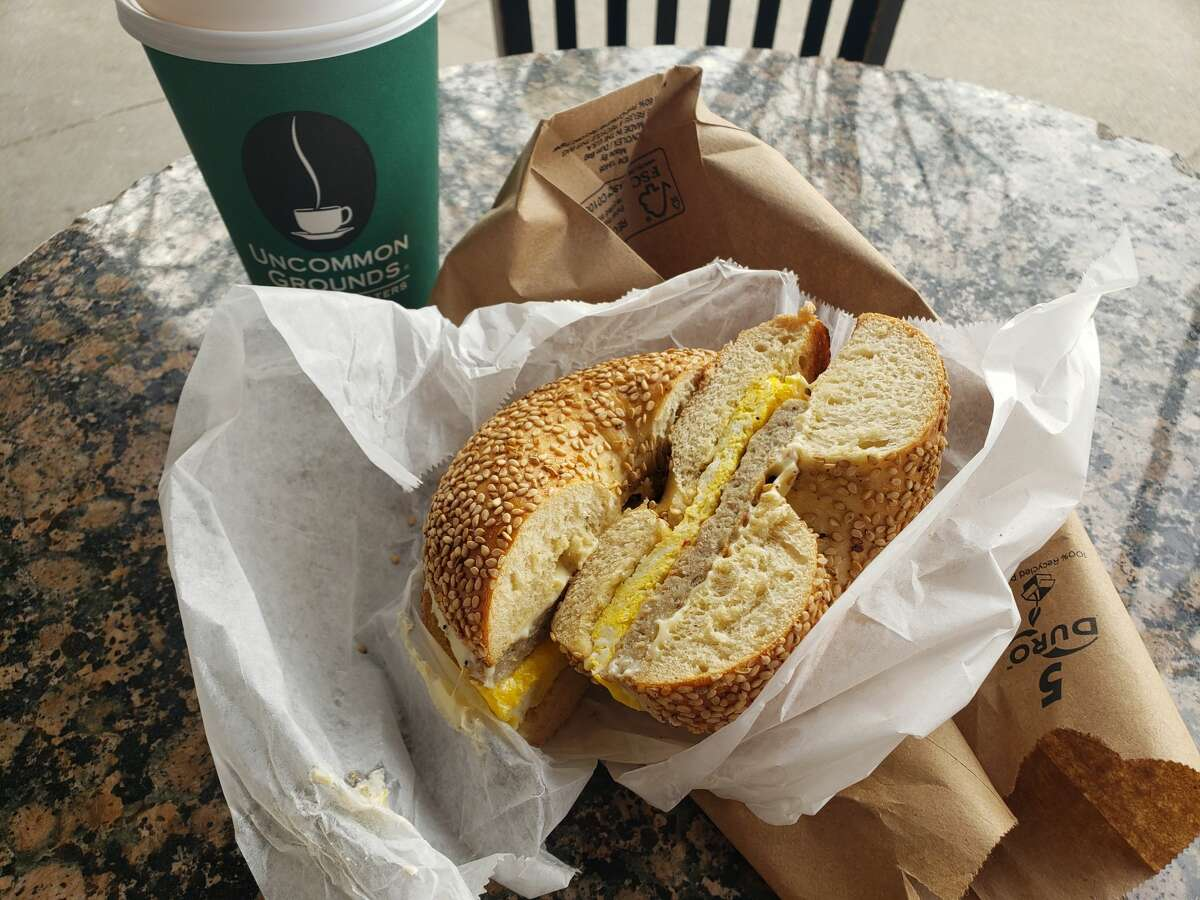 Sausage, egg and cheese on a sesame seed bagel at Uncommon Grounds in Saratoga Springs.