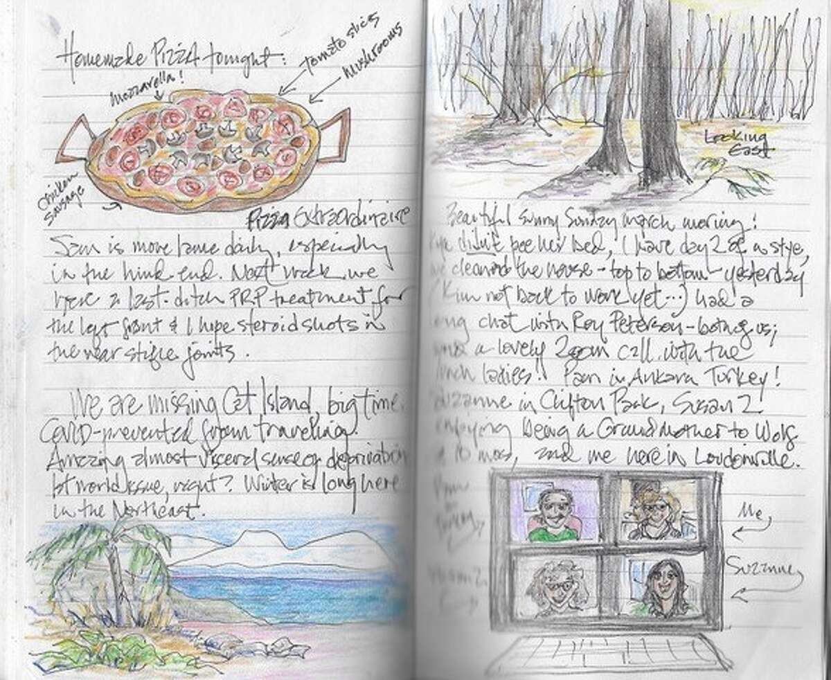 Pages from Susan Weber's journal of navigating life since the pandemic really hit the area in 2020.
