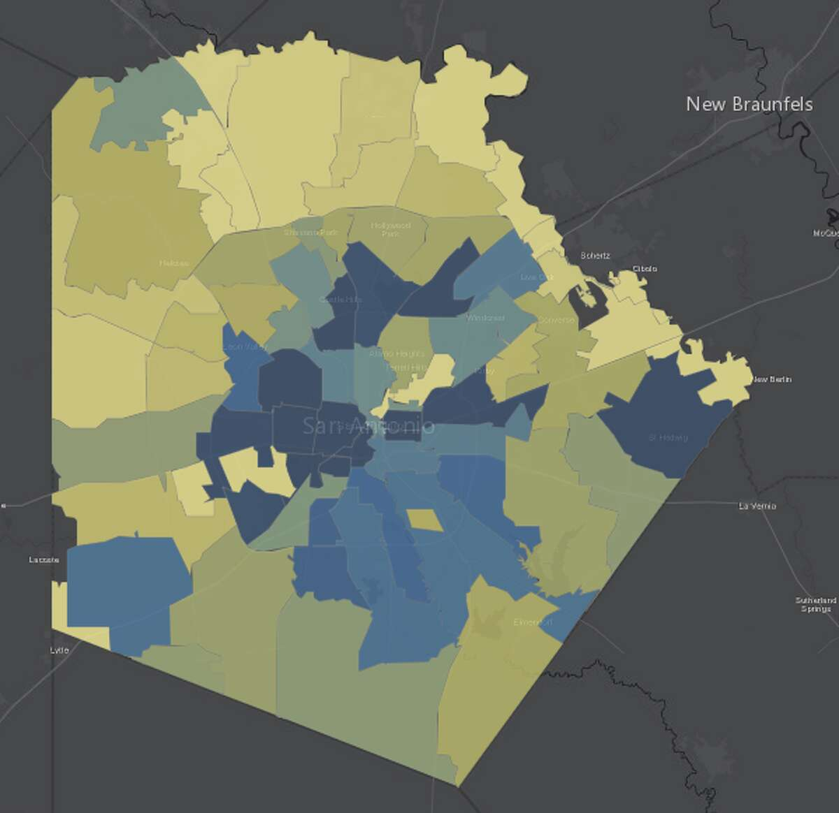The city's COVID-19 surveillance dashboard tracks the number of active cases in each ZIP code.