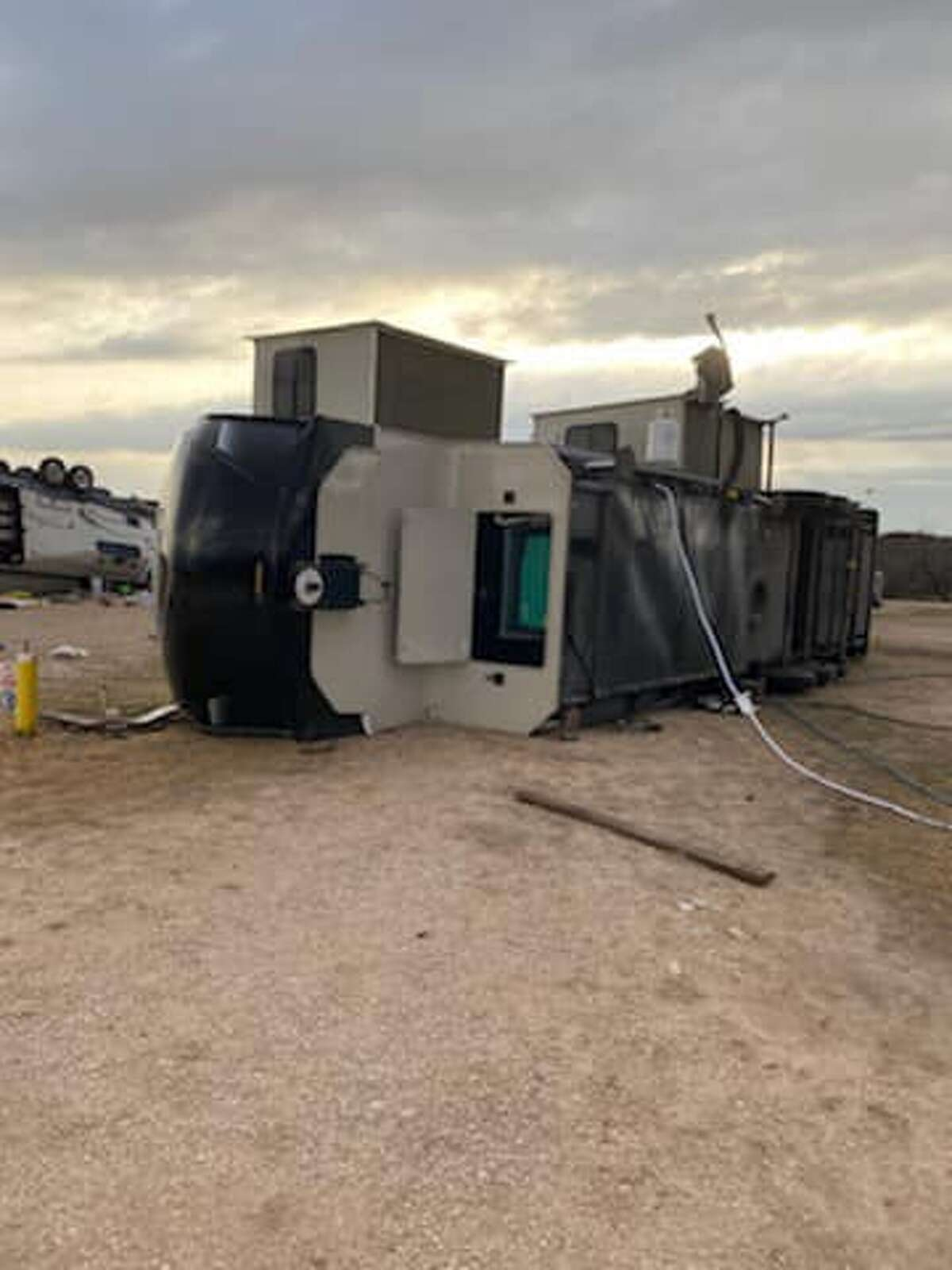 Pictured is damage at the Palo Duro Zip Line in Palo Duro Canyon State Park. No injuries were reported. Several families were camping there. However, most of them sought shelter in a storm shelter nearby.